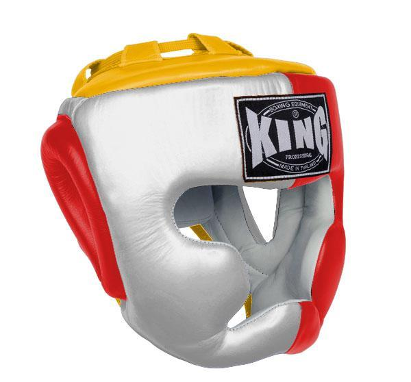 KING Head Guard- Full Coverage- Premium Leather - White Red Yellow