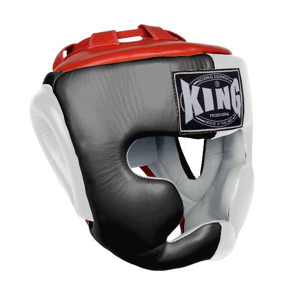 KING Head Guard- Full Coverage- Premium Leather - Black White Red