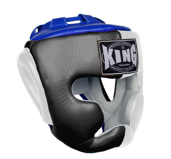 KING Head Guard- Full Coverage- Premium Leather - Black White Blue