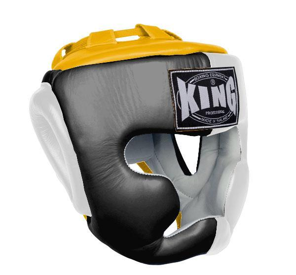 KING Head Guard- Full Coverage- Premium Leather - Black White Yellow