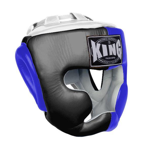 KING Head Guard- Full Coverage- Premium Leather - Black Blue White