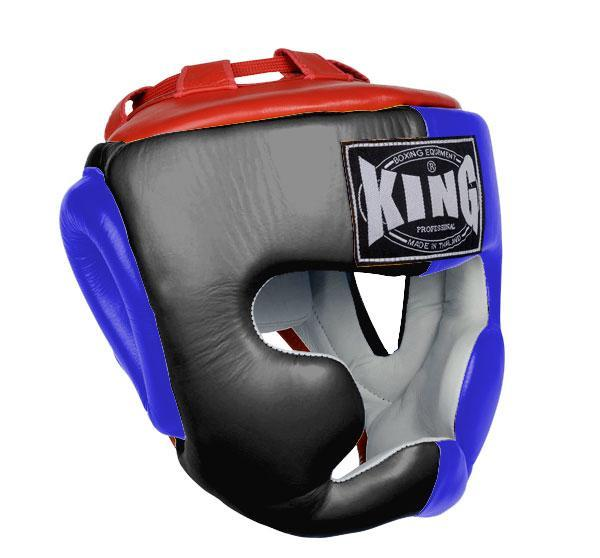 KING Head Guard- Full Coverage- Premium Leather - Black Blue Red