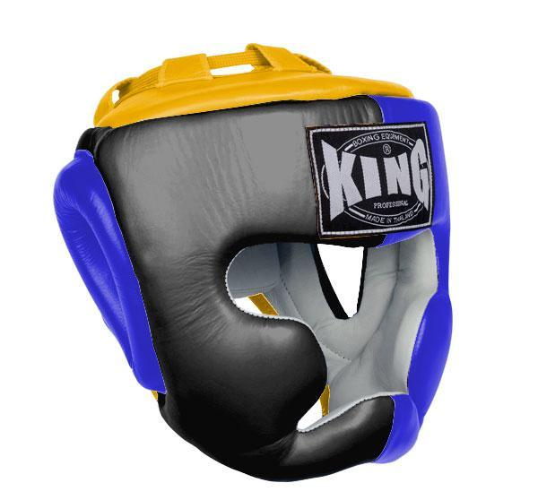 KING Head Guard- Full Coverage- Premium Leather - Black Blue Yellow