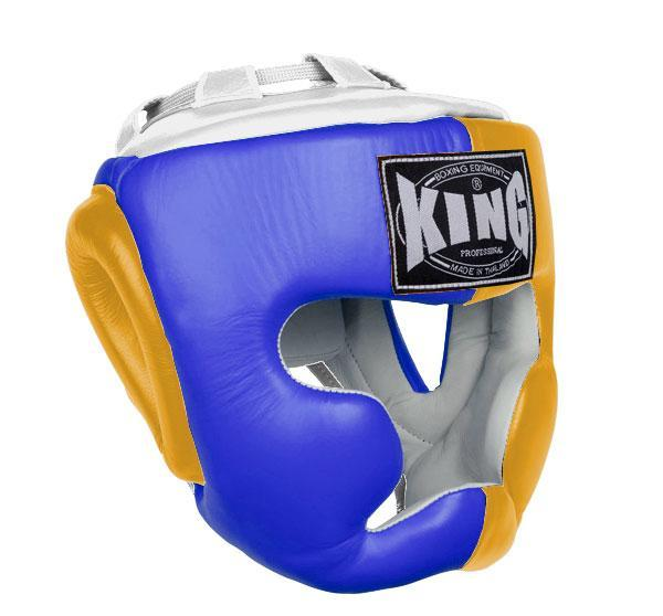 KING Head Guard- Full Coverage- Premium Leather - Blue Yellow White
