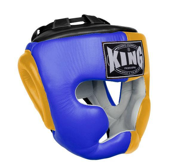 KING Head Guard- Full Coverage- Premium Leather - Blue Yellow Black