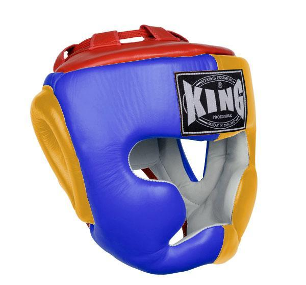 KING Head Guard- Full Coverage- Premium Leather - Blue Yellow Red