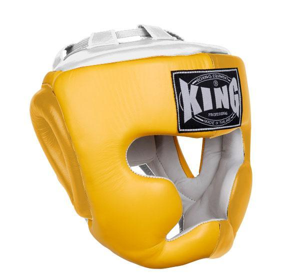 KING Head Guard- Full Coverage- Premium Leather - Yellow White