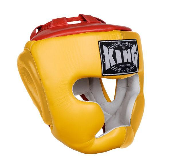 KING Head Guard- Full Coverage- Premium Leather - Yellow Red