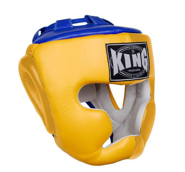 KING Head Guard- Full Coverage- Premium Leather - Yellow Blue