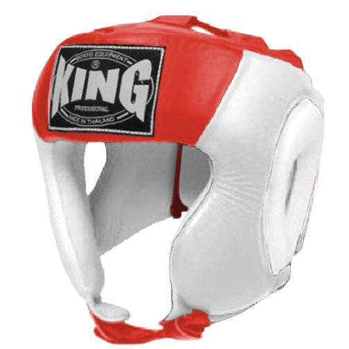 KING Head Guard- Open Chin- Premium Leather - White Red