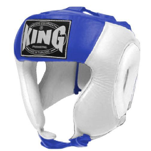 KING Head Guard- Open Chin- Premium Leather - White Blue