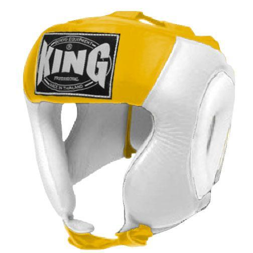 KING Head Guard- Open Chin- Premium Leather - White Yellow