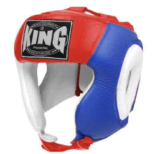 KING Head Guard- Open Chin- Premium Leather - White Blue Red
