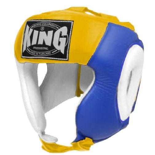 KING Head Guard- Open Chin- Premium Leather - White Blue Yellow