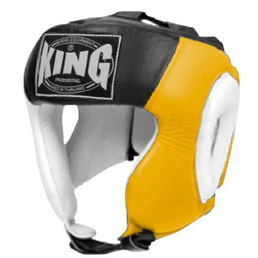 KING Head Guard- Open Chin- Premium Leather - White Yellow Black