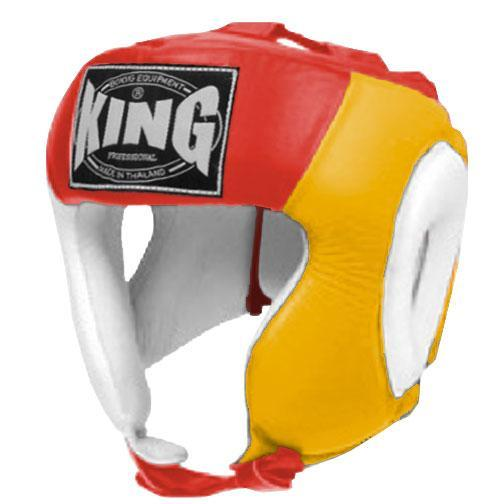 KING Head Guard- Open Chin- Premium Leather - White Yellow Red