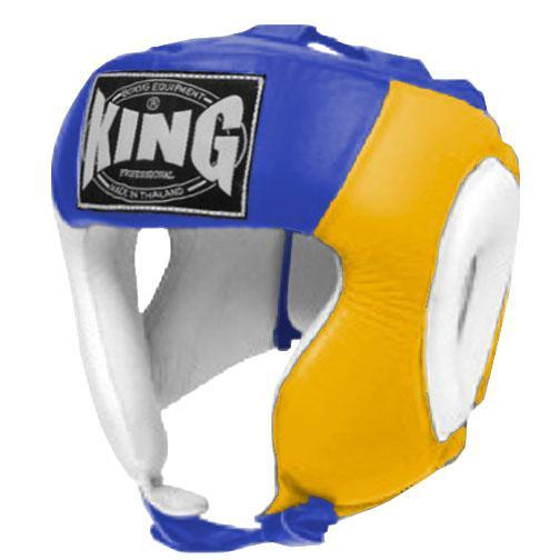 KING Head Guard- Open Chin- Premium Leather - White Yellow Blue