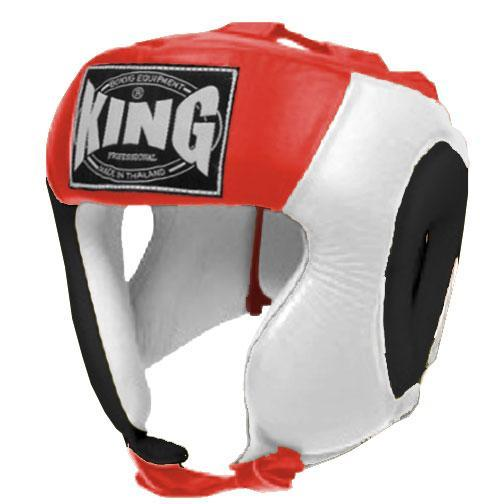 KING Head Guard- Open Chin- Premium Leather - Black White Red