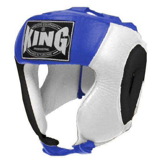 KING Head Guard- Open Chin- Premium Leather - Black White Blue