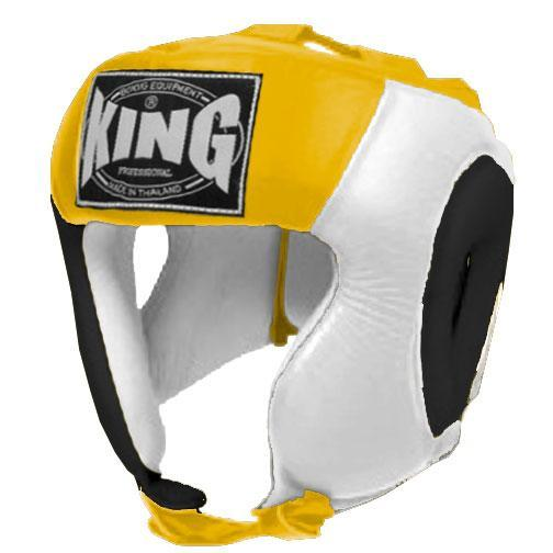 KING Head Guard- Open Chin- Premium Leather - Black White Yellow