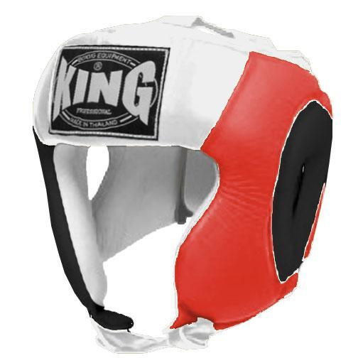 KING Head Guard- Open Chin- Premium Leather - Black Red White