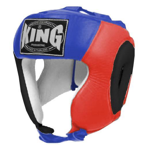KING Head Guard- Open Chin- Premium Leather - Black Red Blue