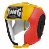 KING Head Guard- Open Chin- Premium Leather - Black Red Yellow
