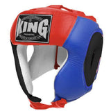 KING Head Guard- Open Chin- Premium Leather - Black Blue Red