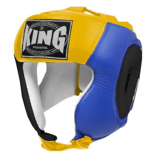 KING Head Guard- Open Chin- Premium Leather - Black Blue Yellow