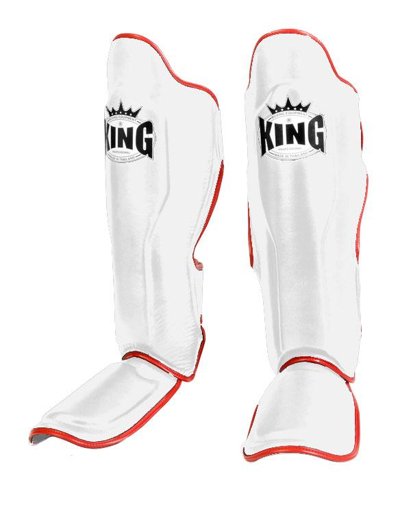 KING Professional Shin Guard- Premium Leather - White Red