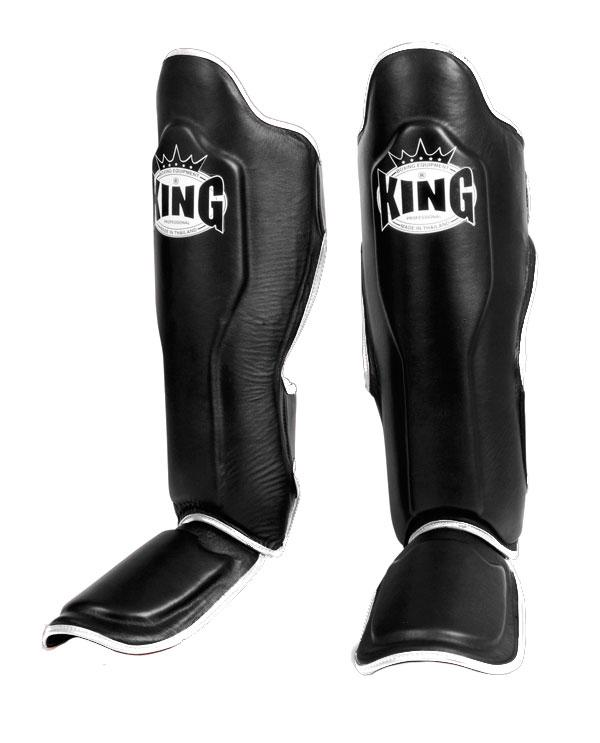KING Professional Shin Guard- Premium Leather - Black White