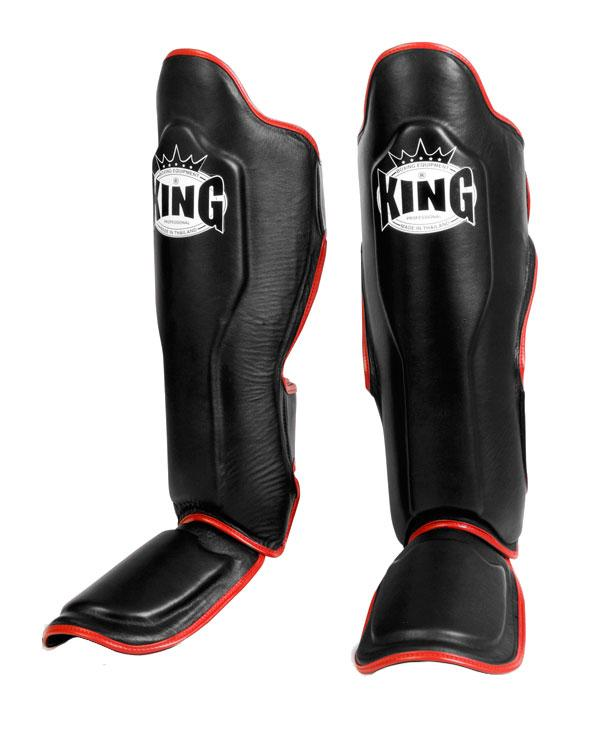 KING Professional Shin Guard- Premium Leather - Black Red