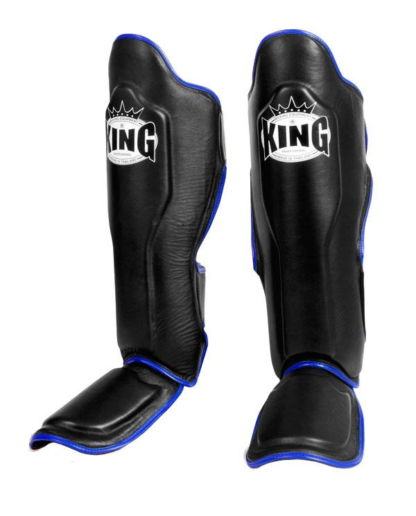 KING Professional Shin Guard- Premium Leather - Black Blue