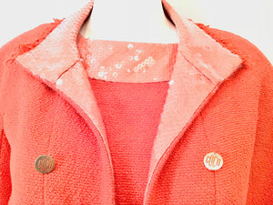 Chanel 08C Resort Cruise Coral Fringe Dress Jacket Tweed Sequin Set FR 42 US 8/10
