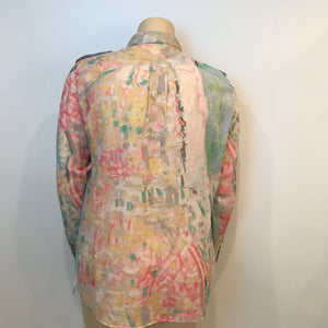 Chanel 2011 Resort Cruise Cotton pastel sheer ladies' blouse/ Men's shirt FR 44 US 12/14