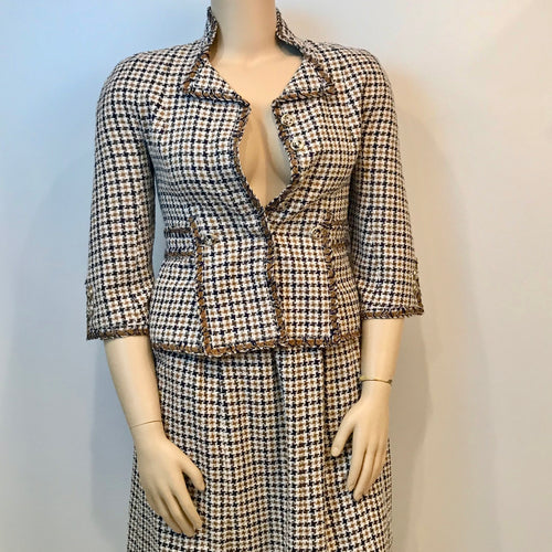 Chanel 08P Spring 2 piece plaid tweed skirt suit jacket set size 10/12