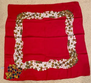 Vintage Chanel Jewel Gripoix Pearls Silk Scarf Handkerchief