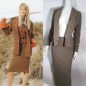 Rare Vintage Chanel 95A Fall Autumn knit dress attached tweed Boucle jacket FR 40 US 4