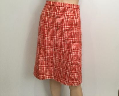 Vintage Chanel Boutique Orange White Tweed Plaid Wool Skirt Vintage US 10