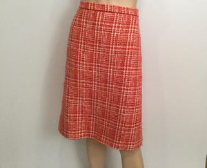 Vintage 97P Chanel Boutique Orange Tweed Plaid Wool Skirt US 10