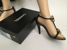 Load image into Gallery viewer, Chanel 07P Spring Gripoix Jewel black patent leather strap Heels EU 38.5 US 7/7.5