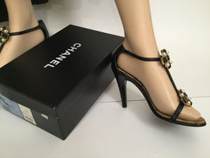 Chanel 07P Spring Gripoix Jewel black patent leather strap Heels w/ box EU 38.5 US 7/7.5