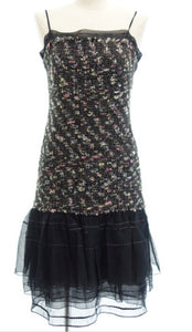 Vintage 04A Fall Tweed Black multicolor Mini spaghetti strap Dress FR 36 US 4/6