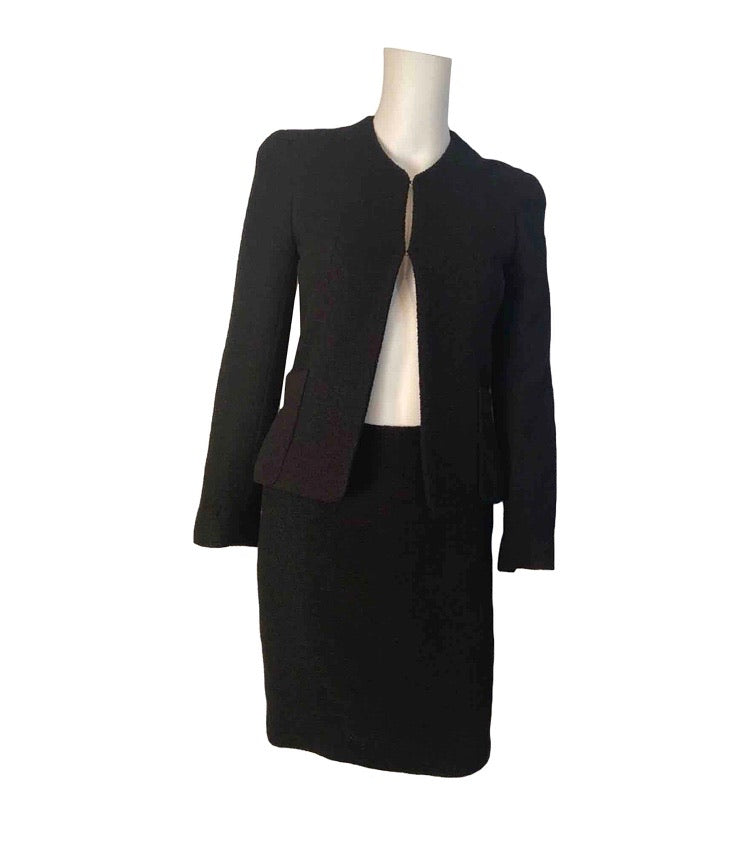 Vintage Chanel 98P, 1998 Spring black boucle wool skirt suit US 2/4