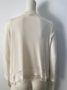 Chanel 06P 2006 Spring White Knit Lace Cardigan FR 40 US 2/4