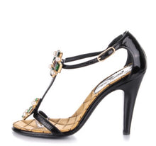Load image into Gallery viewer, Chanel 07P Spring Gripoix Jewel black patent leather strap Heels w/ box EU 38.5 US 7/7.5
