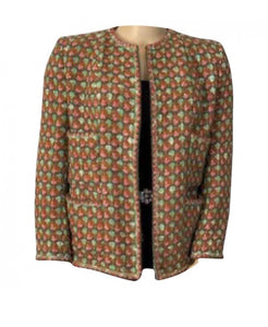 Rare Vintage Chanel 02P, 2002 Spring Heavy Green Pink Tweed Multicolor Jacket FR 46 US 16