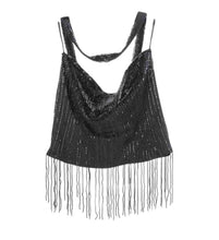 Load image into Gallery viewer, Vintage Chanel 00A, 2000 Fall Autumn Black Tassel Beaded Tube Camisole Top Blouse FR 40 US 4