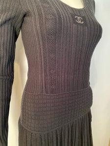 Chanel 05A Black Long Sleeve Ribbed CC Logo Dress FR 38 US 4/6