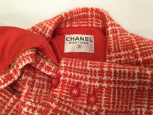 Load image into Gallery viewer, Chanel Boutique Vintage 97P, 1997 Spring Orange Plaid Tweed Blazer Dress Jacket US 8